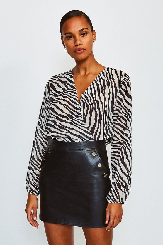 Black Animal Print Long Sleeved Wrap Body