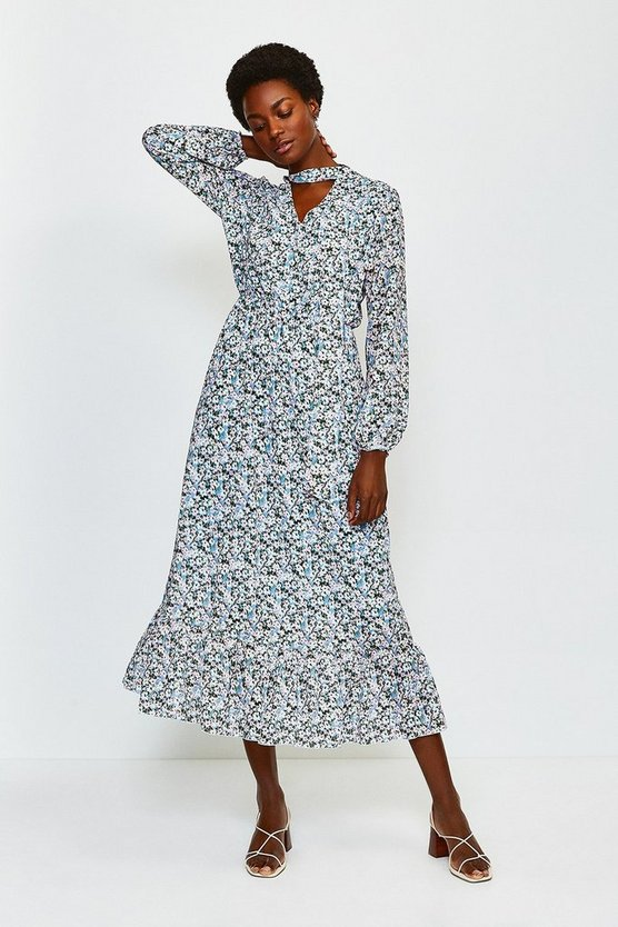 Blue Floral Print Long Sleeved Ruffle Dress