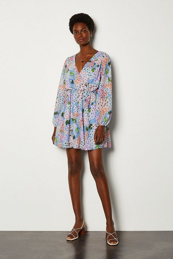 Blue Ditsy Floral Print Long Sleeved Wrap Short Dress