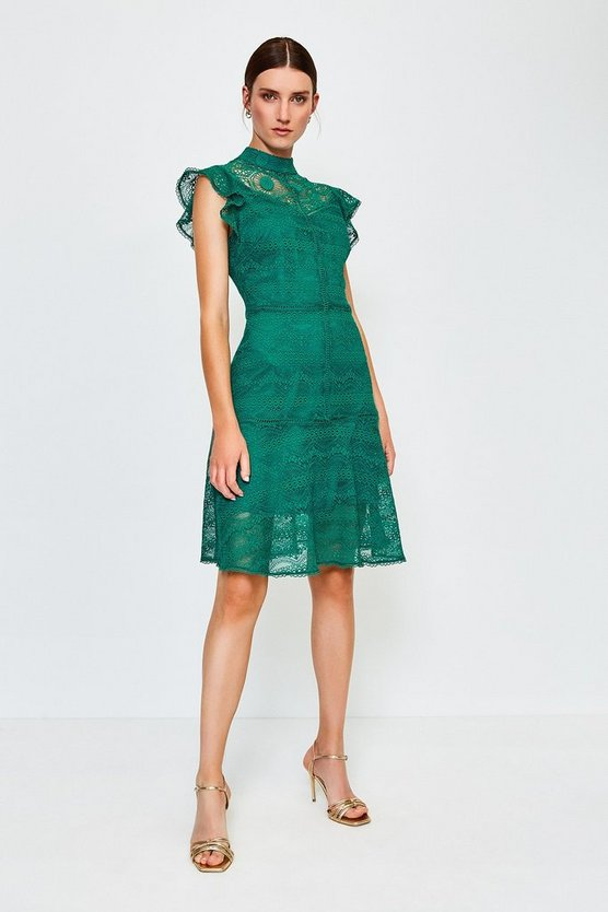 Green Chemical Lace Ruffle Sleeveless Short Dress