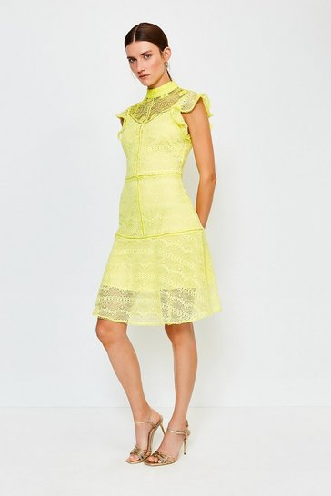 Lime Chemical Lace Ruffle Sleeveless Short Dress