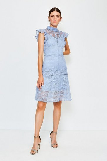 Pale blue Chemical Lace Ruffle Sleeveless Short Dress