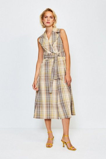 Multi Check Sleeveless Belted Midi Dress