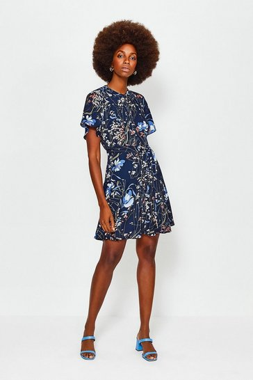 Blue Meadow Print Dress