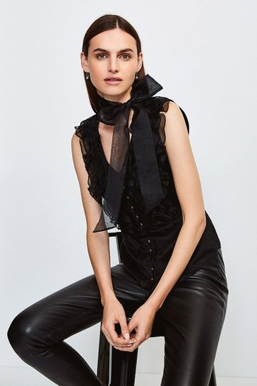 Black Silk Organza Ruffle Tie Neck Blouse