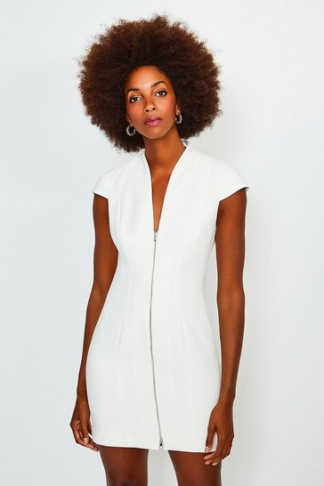 Ivory Plunge Neck Zip Front Dress
