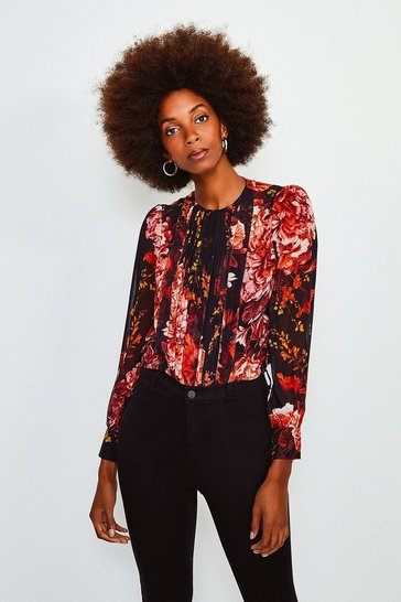 Black Rose Print Pintuck Blouse