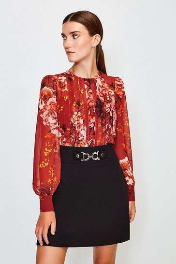 Red Rose Print Pintuck Blouse