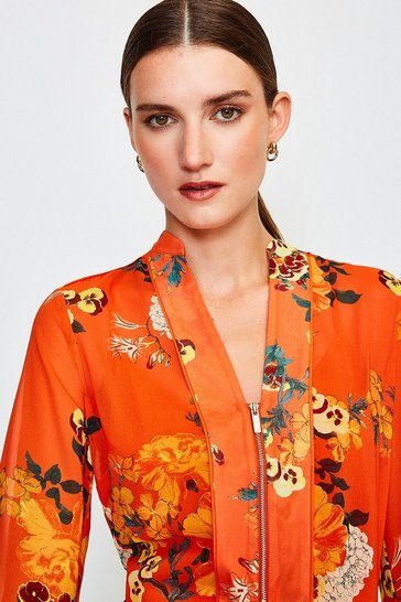Orange Floral Print Blouse