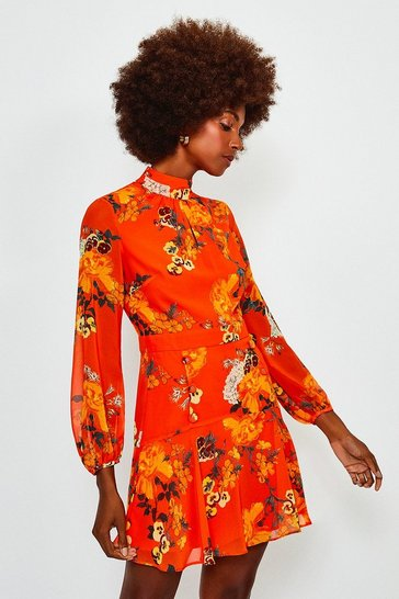Orange Floral Print Mini Dress
