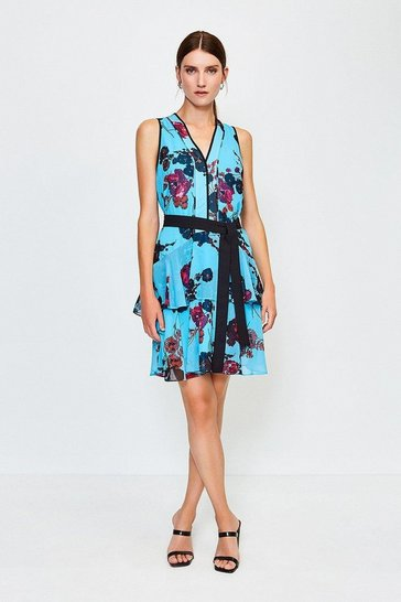 Blue Floral Print Ruffle Short Dress
