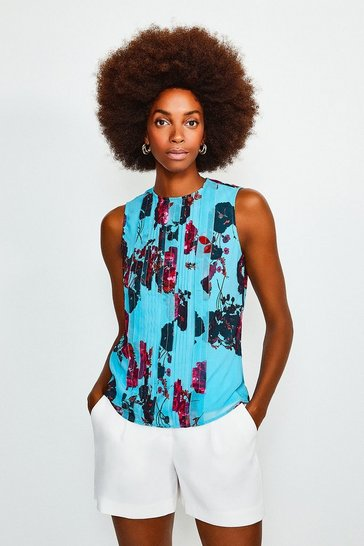 Blue Pintuck Print Top