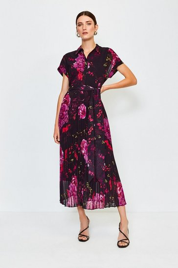 Black Print Drama Shirt Maxi Dress
