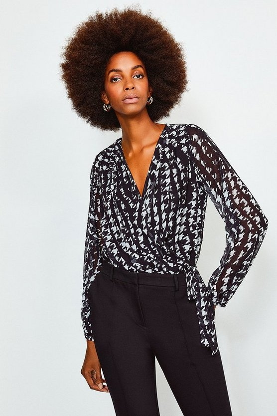 Black Long Sleeve Printed Wrap Body