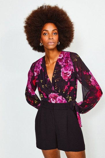 Black Floral Print Drama Wrap Body