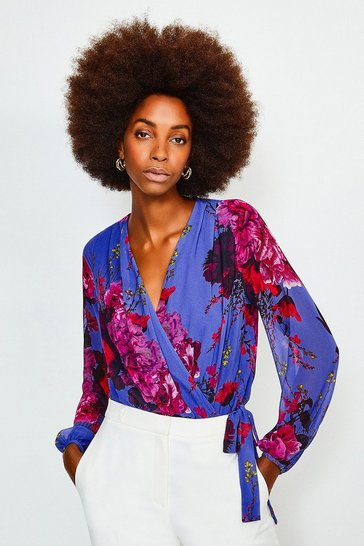 Blue Floral Print Drama Wrap Body