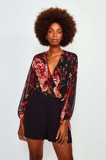 Multi Floral Print Drama Wrap Body