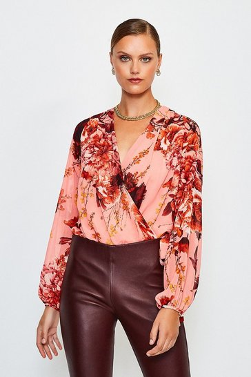 Peach Floral Print Drama Wrap Body