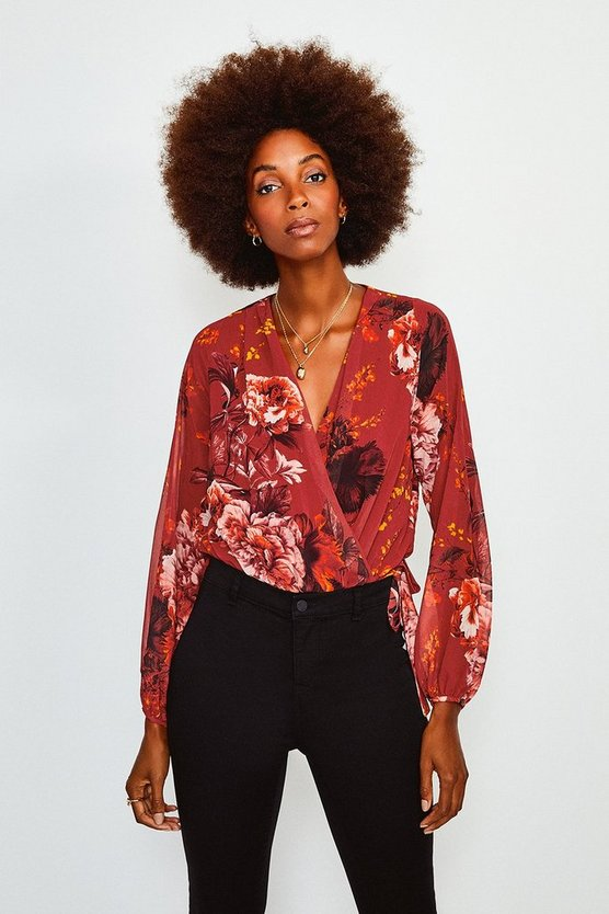 Red Floral Print Drama Wrap Body