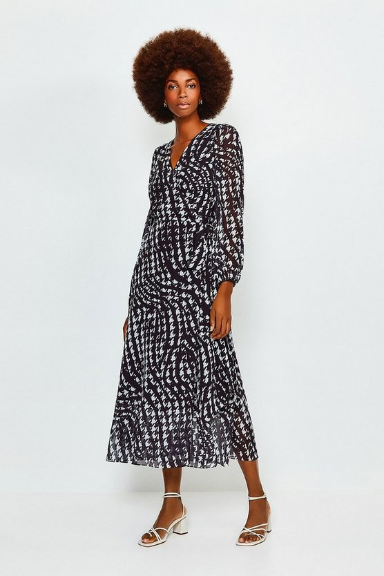 Black Print Drama Wrap Dress