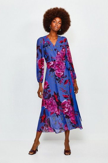 Blue Print Drama Wrap Dress