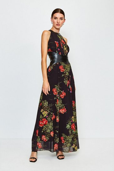 Black Floral Print PU Trim Midi Dress