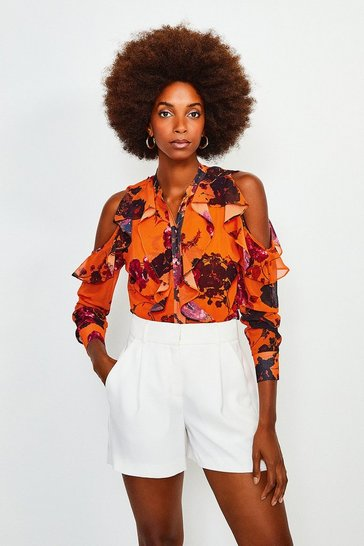 Orange Cold Shoulder Frill Top
