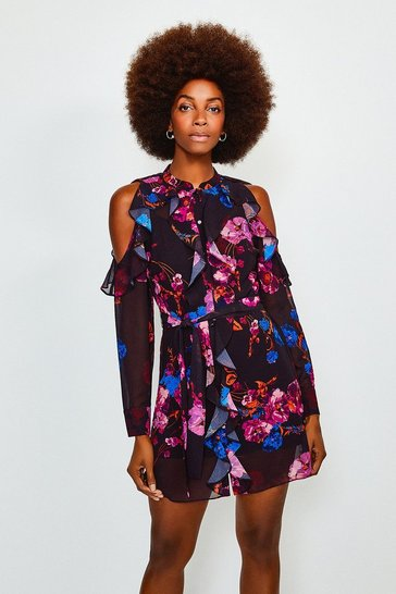 Black Floral Cold Shoulder Frill Dress