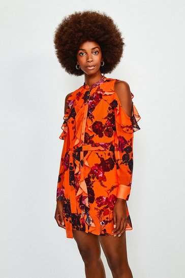 Orange Floral Print Cold Shoulder Frill Dress