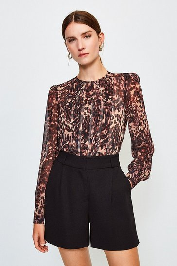 Brown Long Sleeve Printed Pintuck Blouse