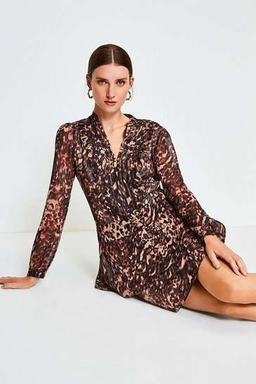 Brown Printed Pintuck Mini Dress