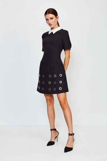 Black Eyelet Detail Hem A Line Dress
