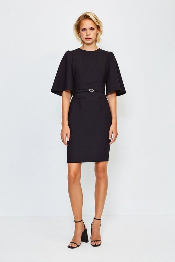 Black Flare Sleeved Shift Dress