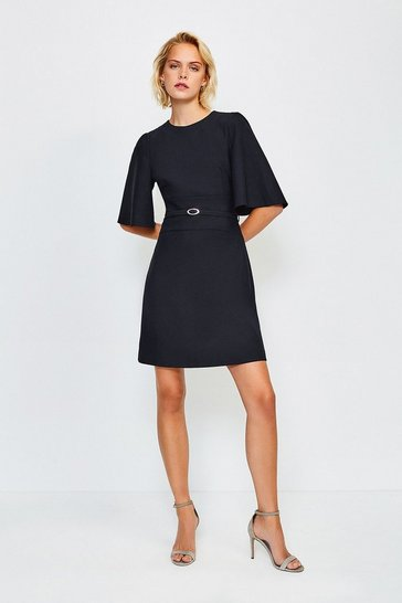 Navy Flare Sleeved A Line Dress