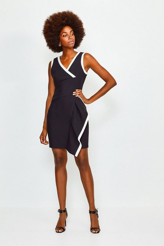 Mono Tipped Wrap Waterfall Short Dress