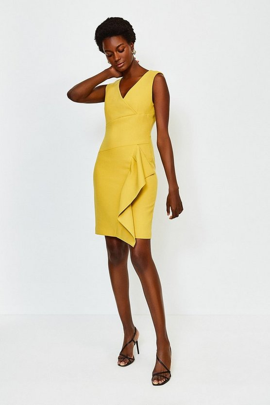 Mustard Wrap Waterfall Short Dress