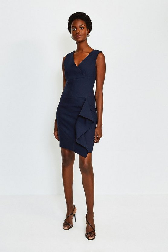 Navy Wrap Waterfall Short Dress