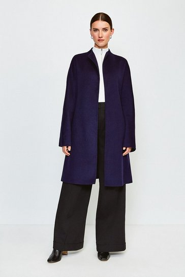 Navy Wool Blend Handstitched Coat