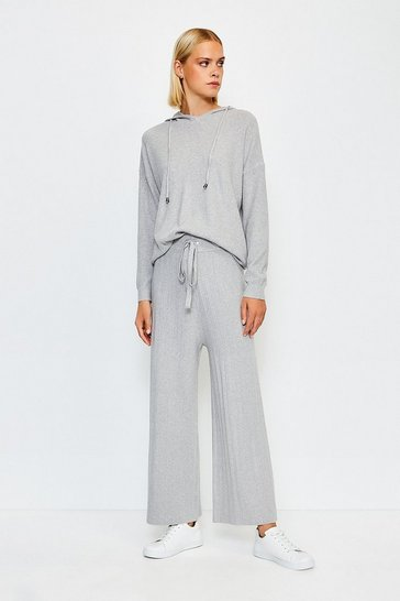 Grey Knit Soft YarnWide Leg Jogger