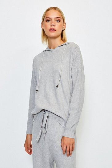 Grey Knit Soft Yarn Hoody