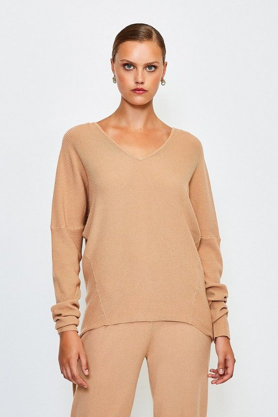 Camel Knit Soft Yarn V Neck Jumper
