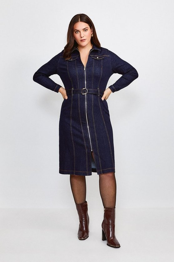 Dark wash Curve Long Sleeve Denim Zip Front Dress