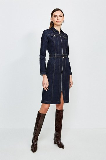 Dark wash Long Sleeve Denim Zip Front Dress