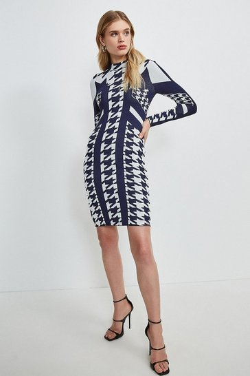 Navy Houndstooth Jacquard Knitted Dress