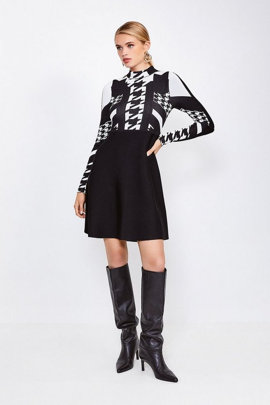 Blackwhite Houndstooth Jacquard Knitted Skater Dress