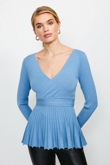 Blue Pleated Peplum Knitted Top