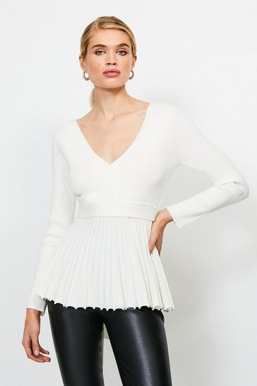 Ivory Pleated Peplum Knitted Top