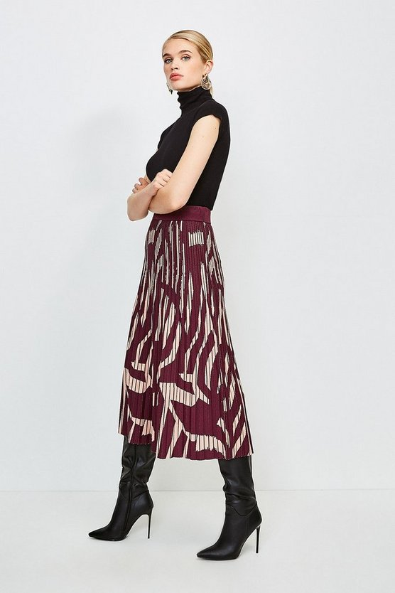 Multi Abstract Jacquard Pleated Midi Skirt