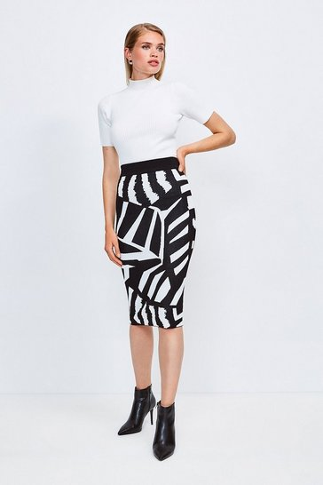 Blackwhite Abstract Jacquard Midi Skirt