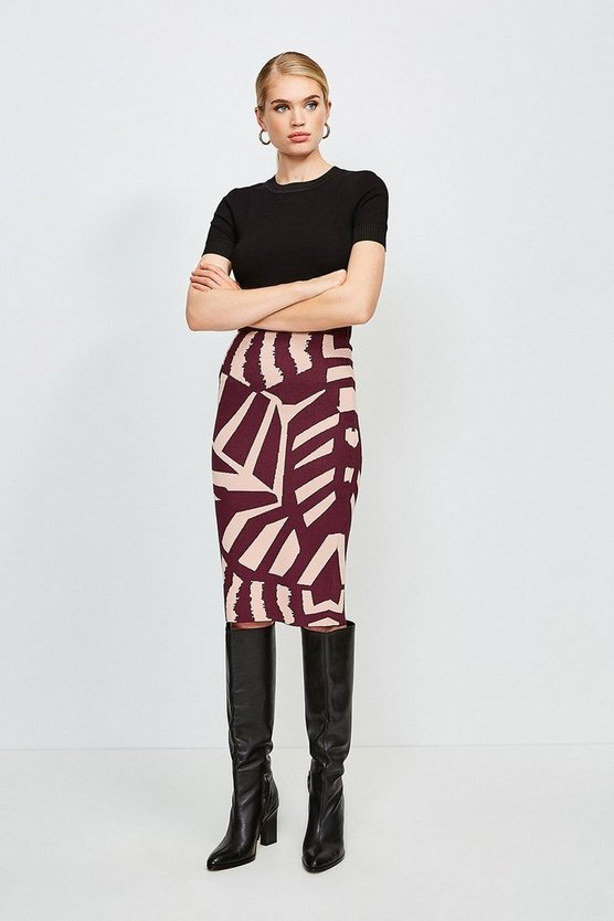 Multi Abstract Jacquard Midi Skirt